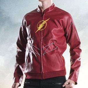 Hot Topic DC Comic Flash Red Faux Leather Jacket